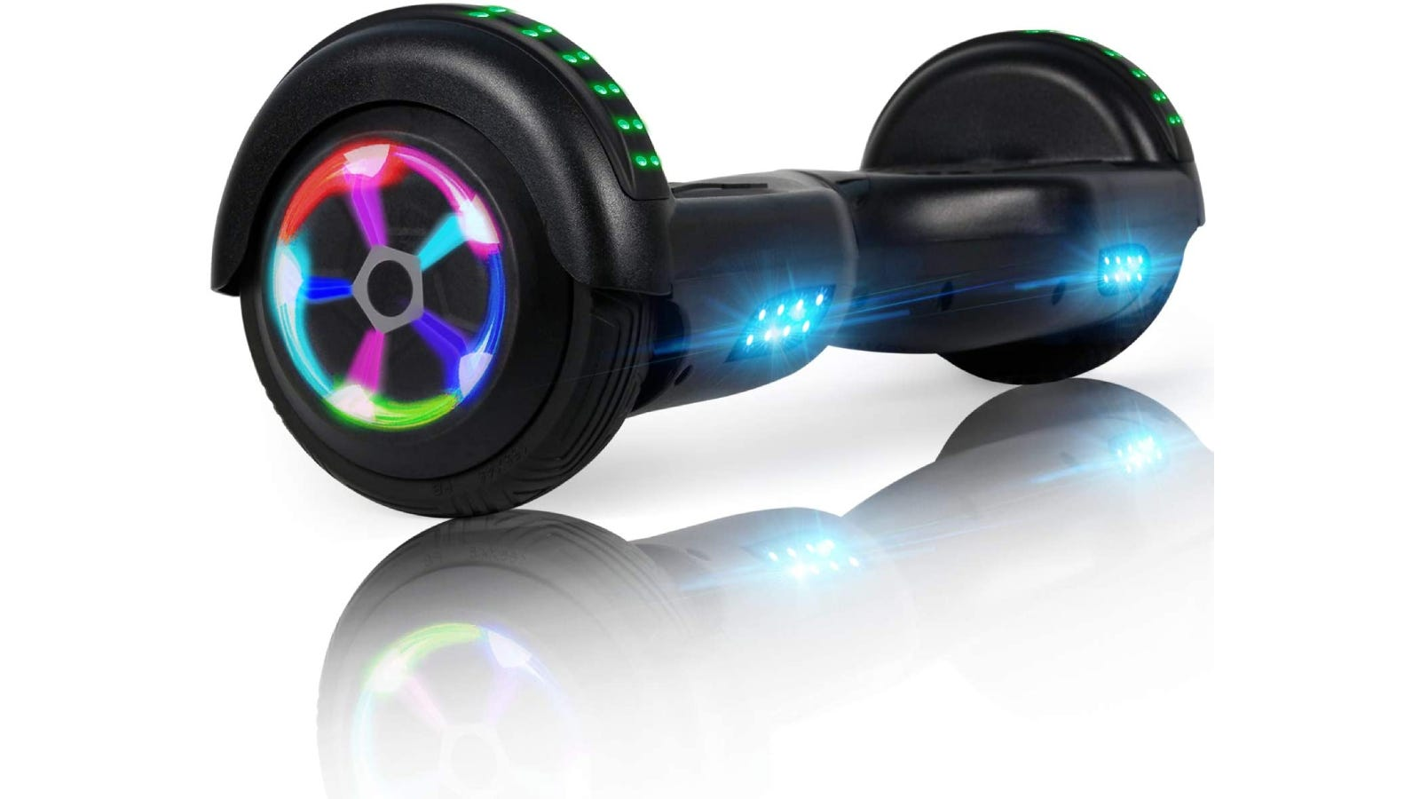 a black hoverboard with multicolored lights on the side, top, and front