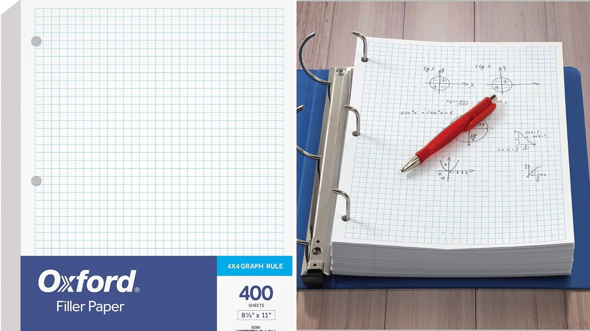 On the left, a 400-page stack of loose leaf, 4-by-4 graph paper. On the right, the loose leaf stack sits in the prongs of a three-ringed binder.