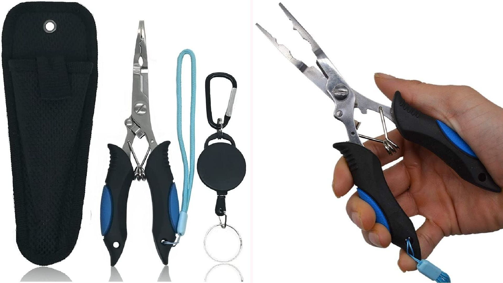 On the left, a sheath, needle-nose pliers, and lanyards on display. On the right, a man holding needle-nose pliers in his hand.