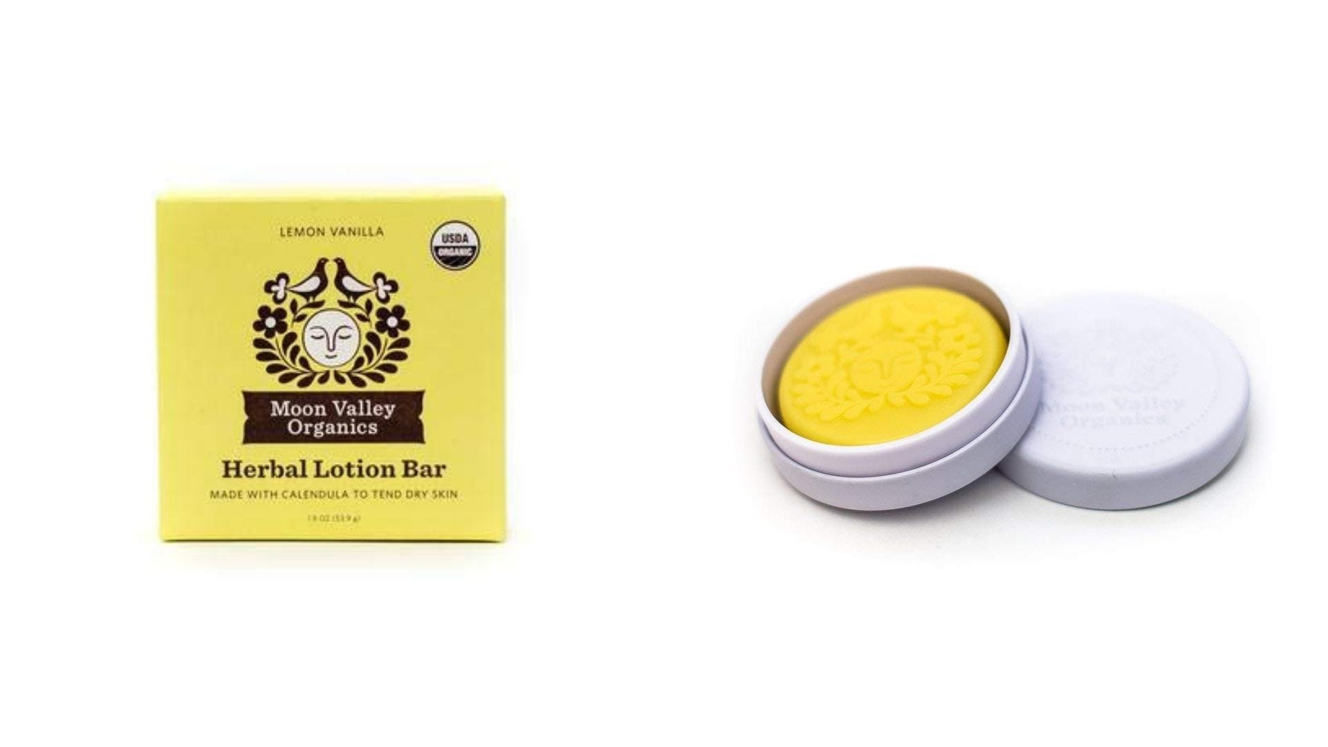 A yellow box and a round container with a solid hand lotion inside