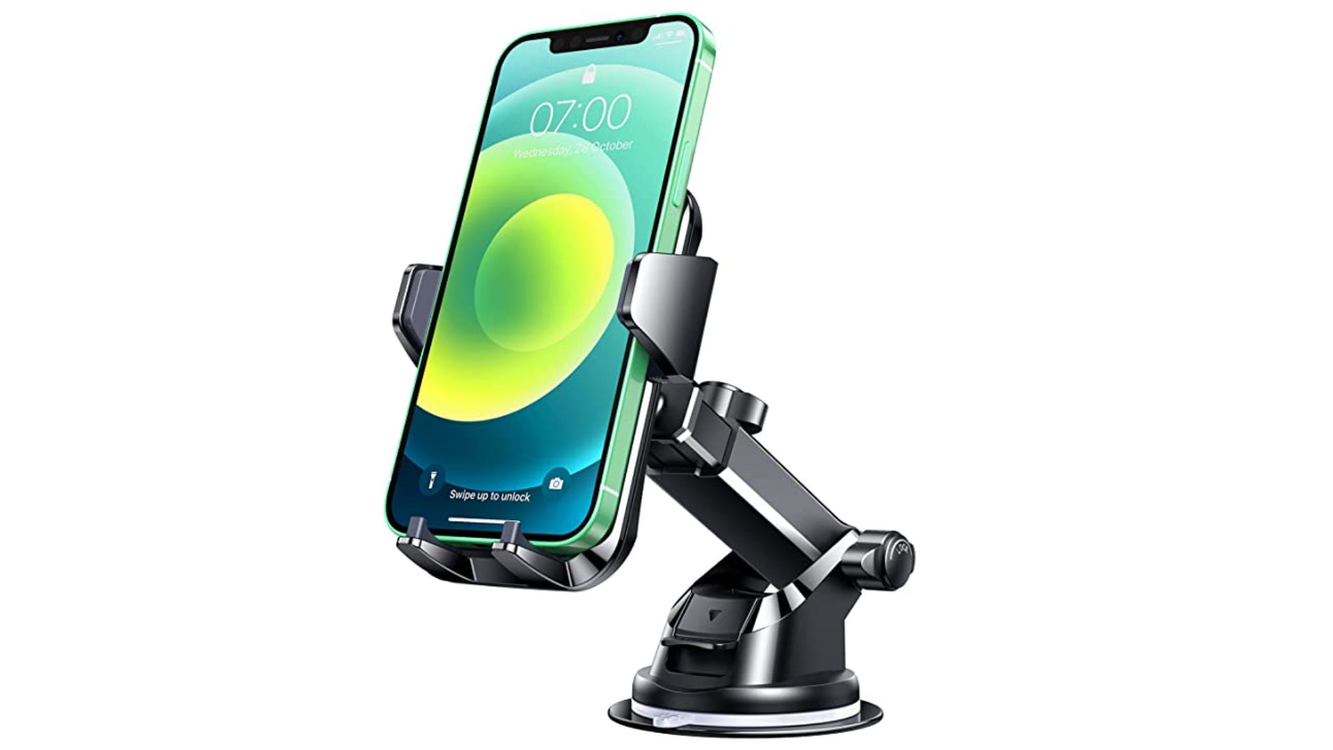 A metallic black phone holder with suction cup displaying a phone.