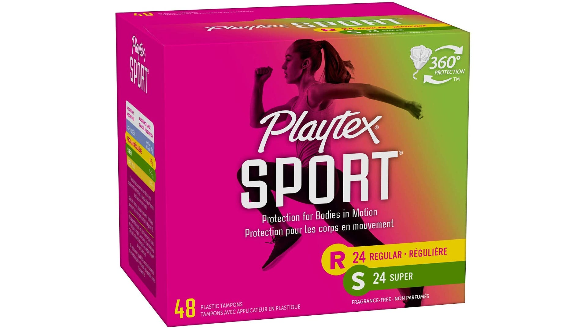 A pink and green box of Playtex Sport Tampons with a woman running on the front.