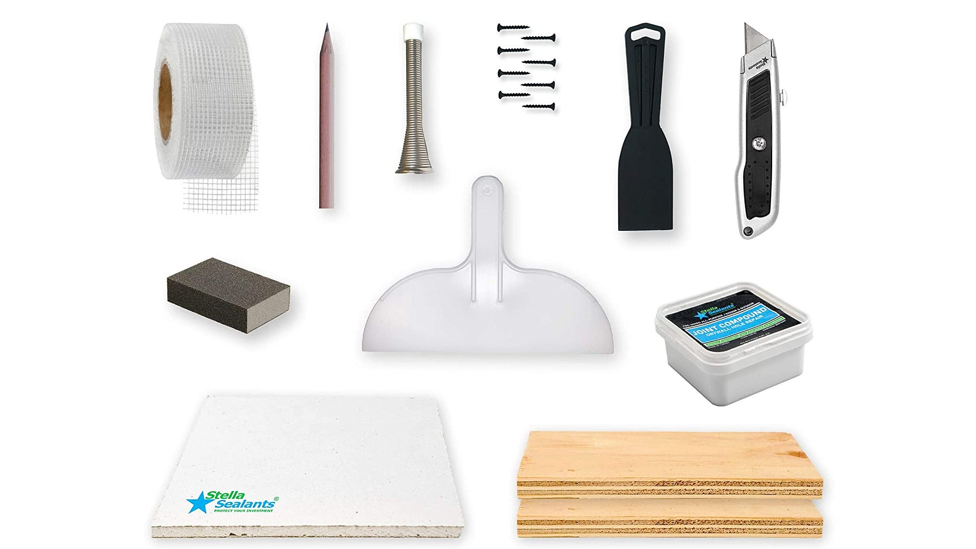 drywall repair kit displayed with multiple tools