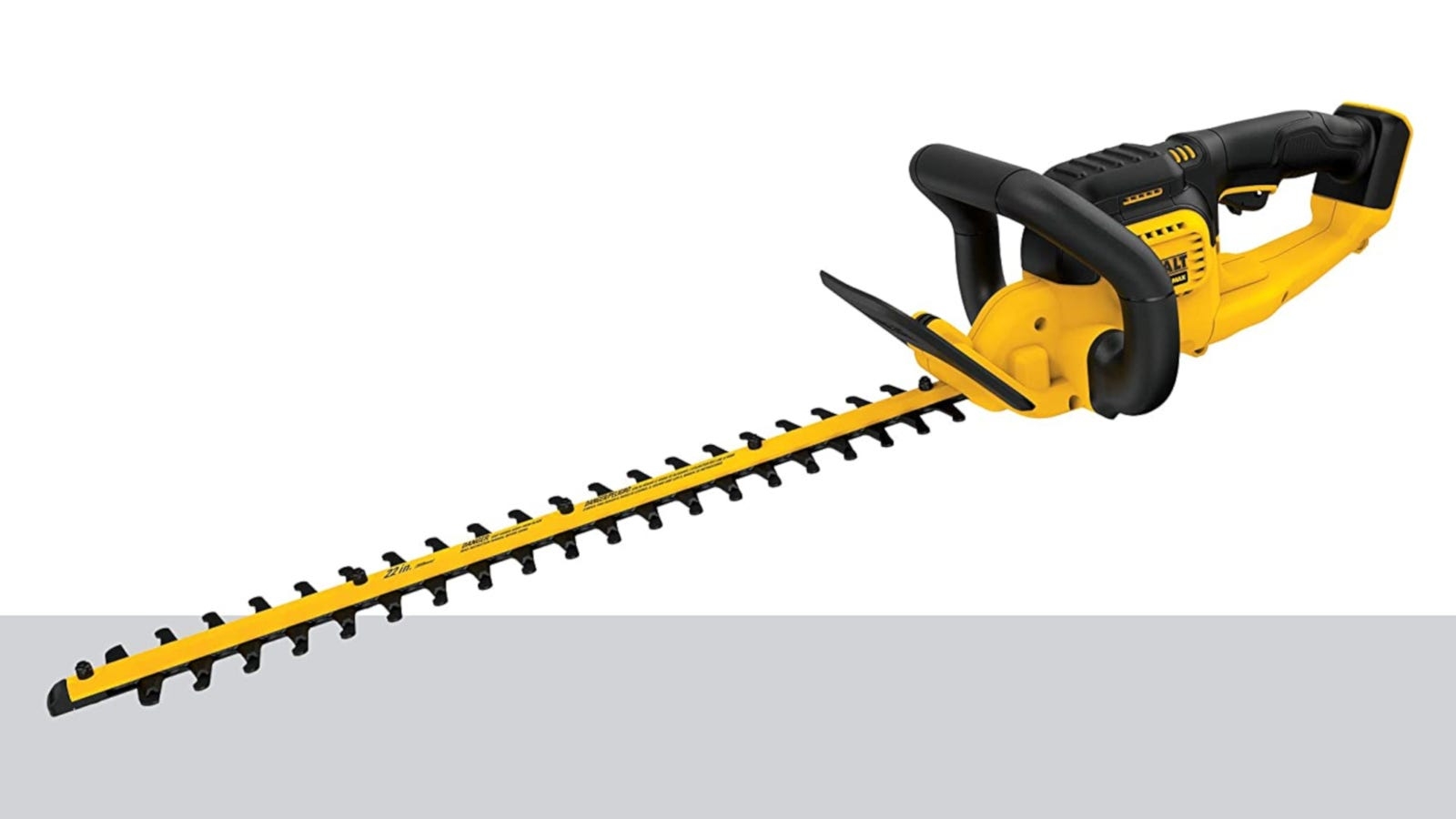 Yellow and black 20V cordless hedge trimmer with 22-inch hooked-tooth blade
