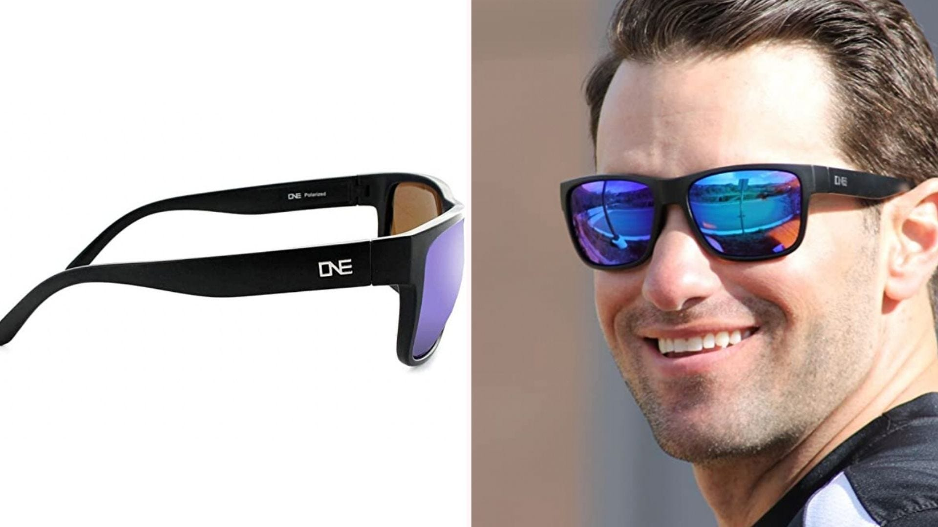 a pair of sunglasses with blue lenses shown as a side view and on a man's face