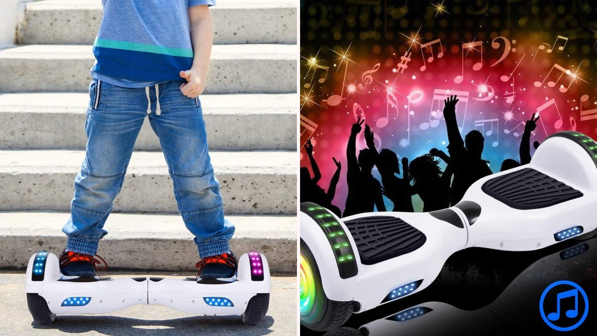 on the left is a boy on a white hoverboard; on the right is the hoverboard displayed with dancing silhouettes in the background