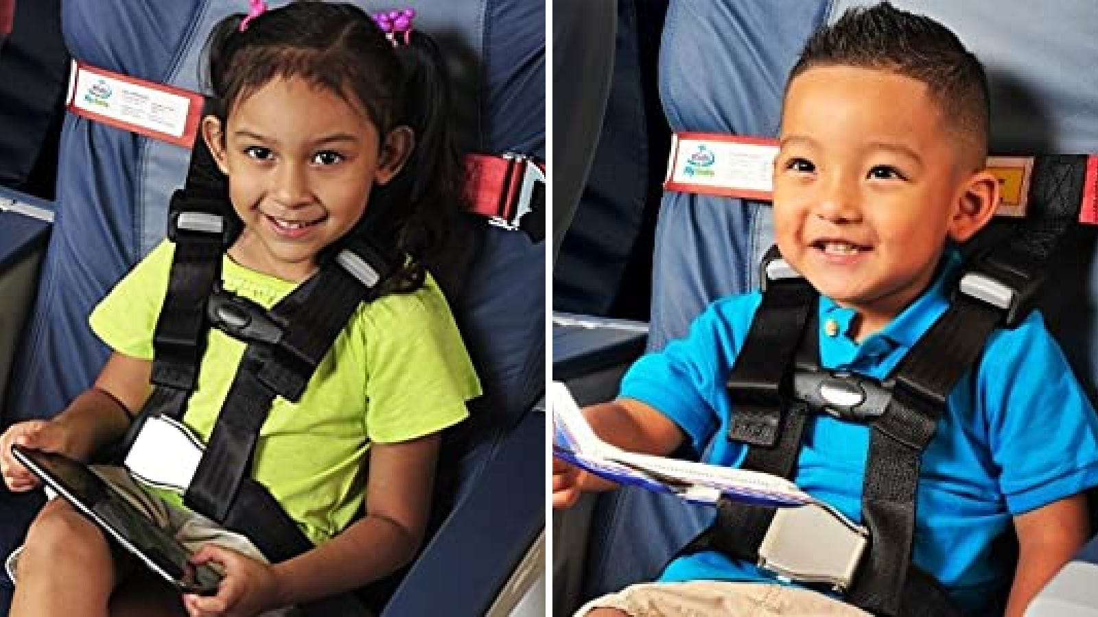 Two images of children on a plane using the CARES KIDS FLY SAFE safety harness.