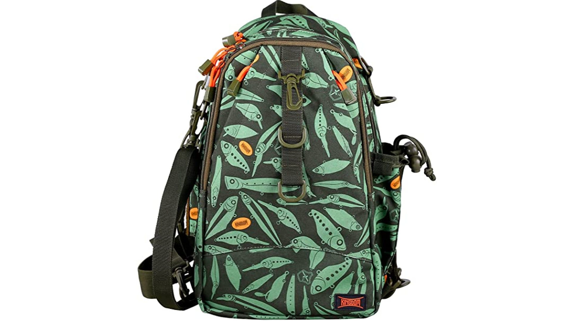 A side view of a green backpack with a fish pattern and multiple pockets.