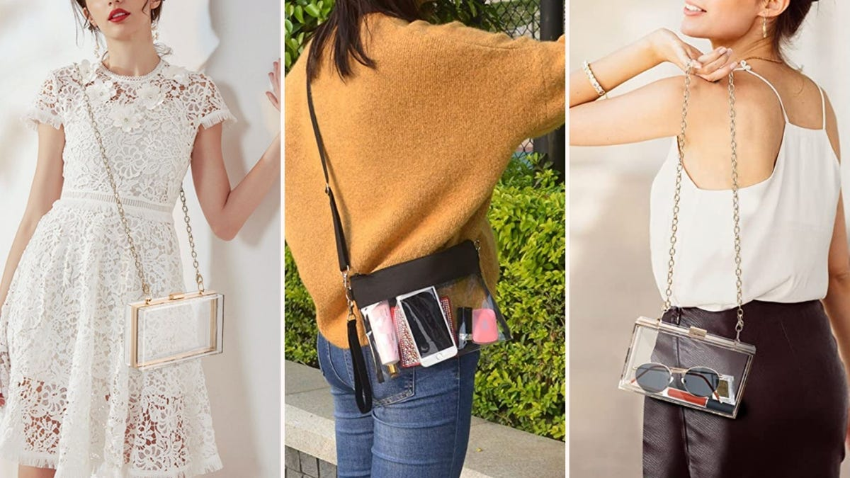 three women modeling clear purses in everyday life