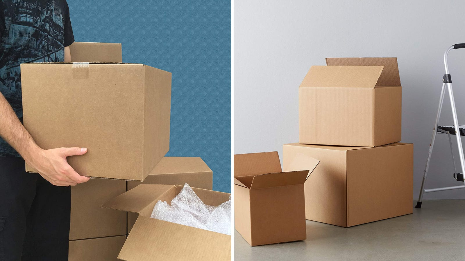 Two images of boxes being carried, packed and stacked before moving day.