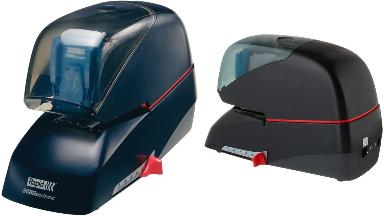 A front and back view of a black electric stapler with an adjustable stapling guide.