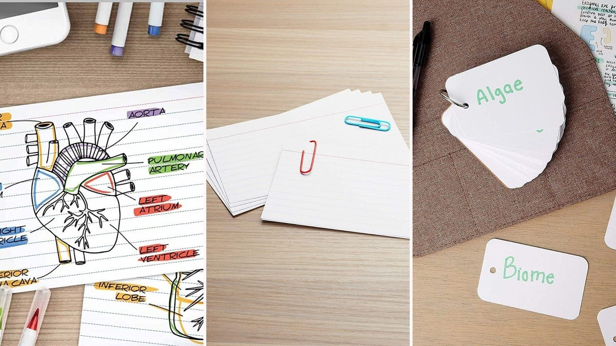 three different sets of index cards; one has a drawing of a human heart with labeled parts, one stack has paperclips on it, and one set is on a ring and has scientific terms on the cards