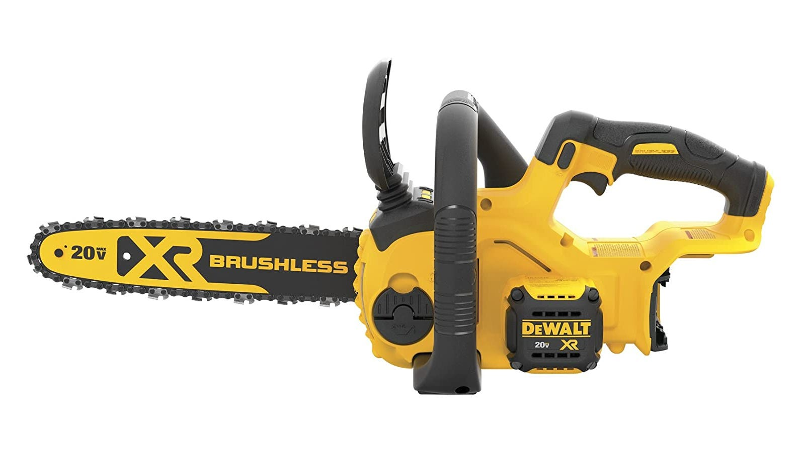Yellow and black 20v battery-powered chainsaw with brushless motor and lightweight design