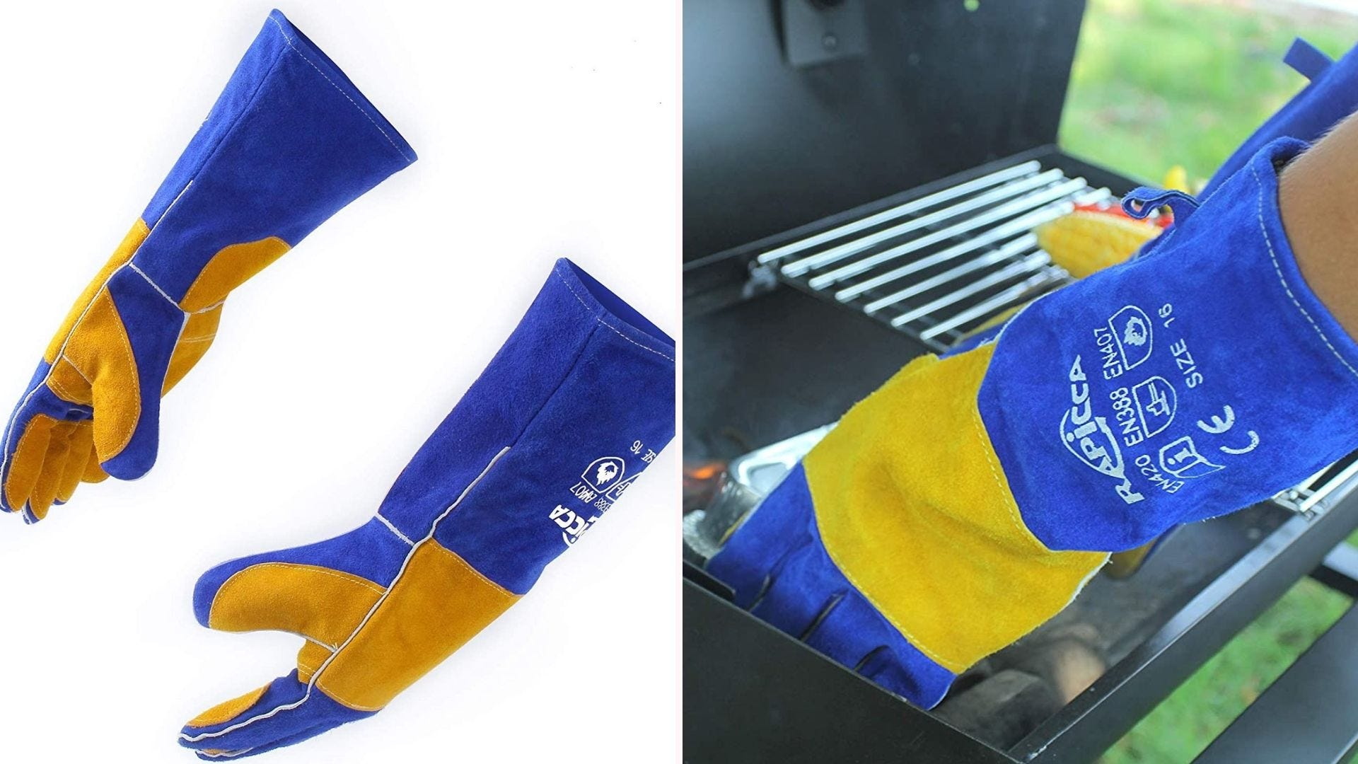 a pair of blue and yellow long gloves shown on a white background and on a hand