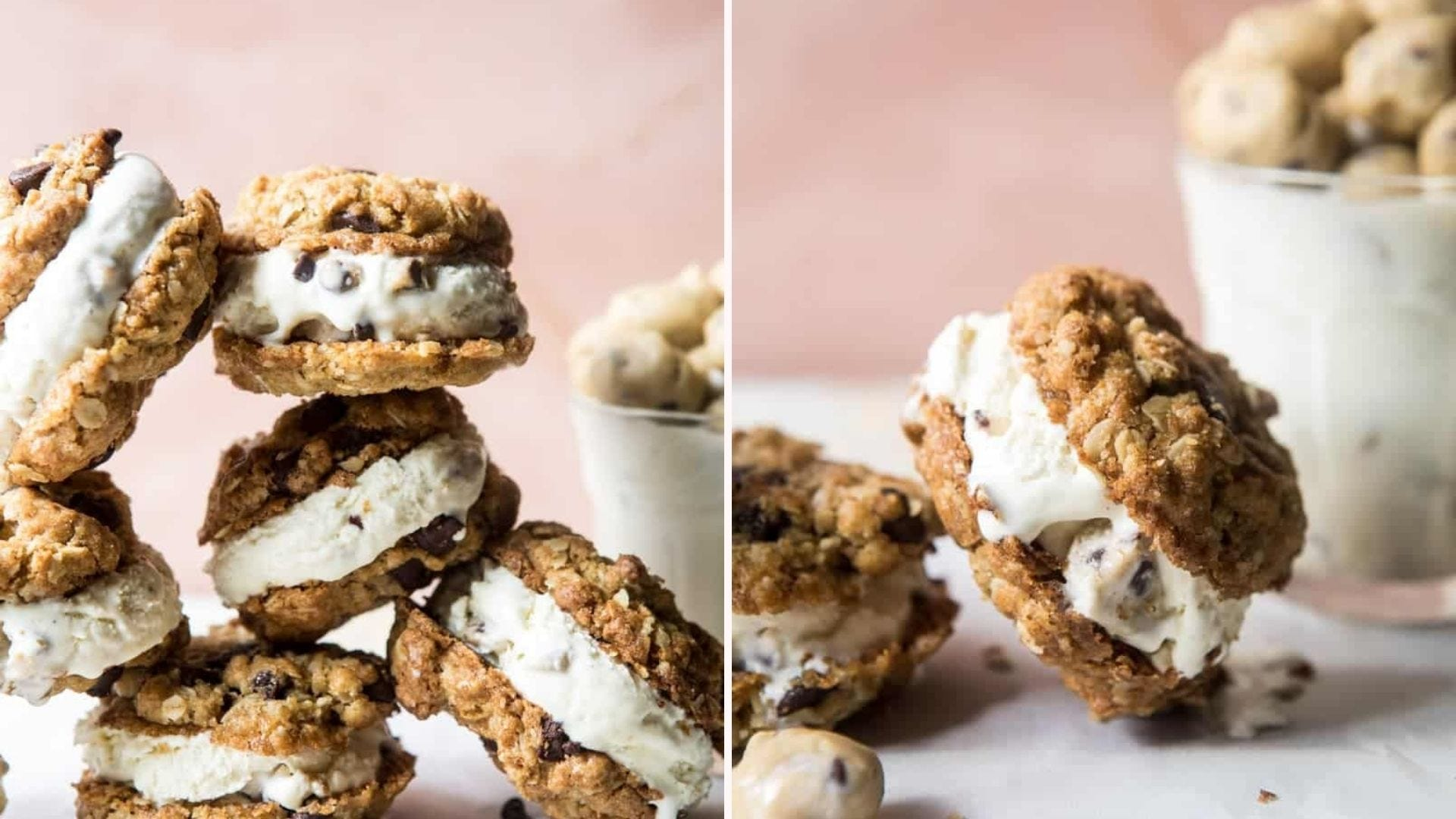 Stacks of oatmeal chocolate chip ice cream sandwiches