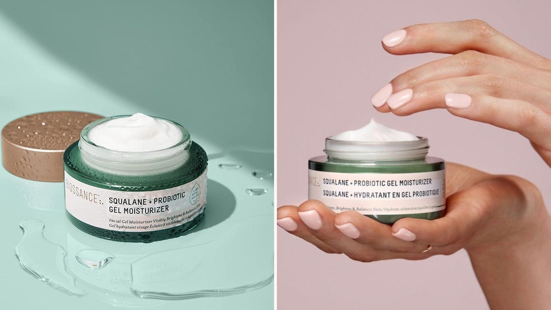 An open green jar with white gel inside; a pair of hands holding an open jar of moisturizer