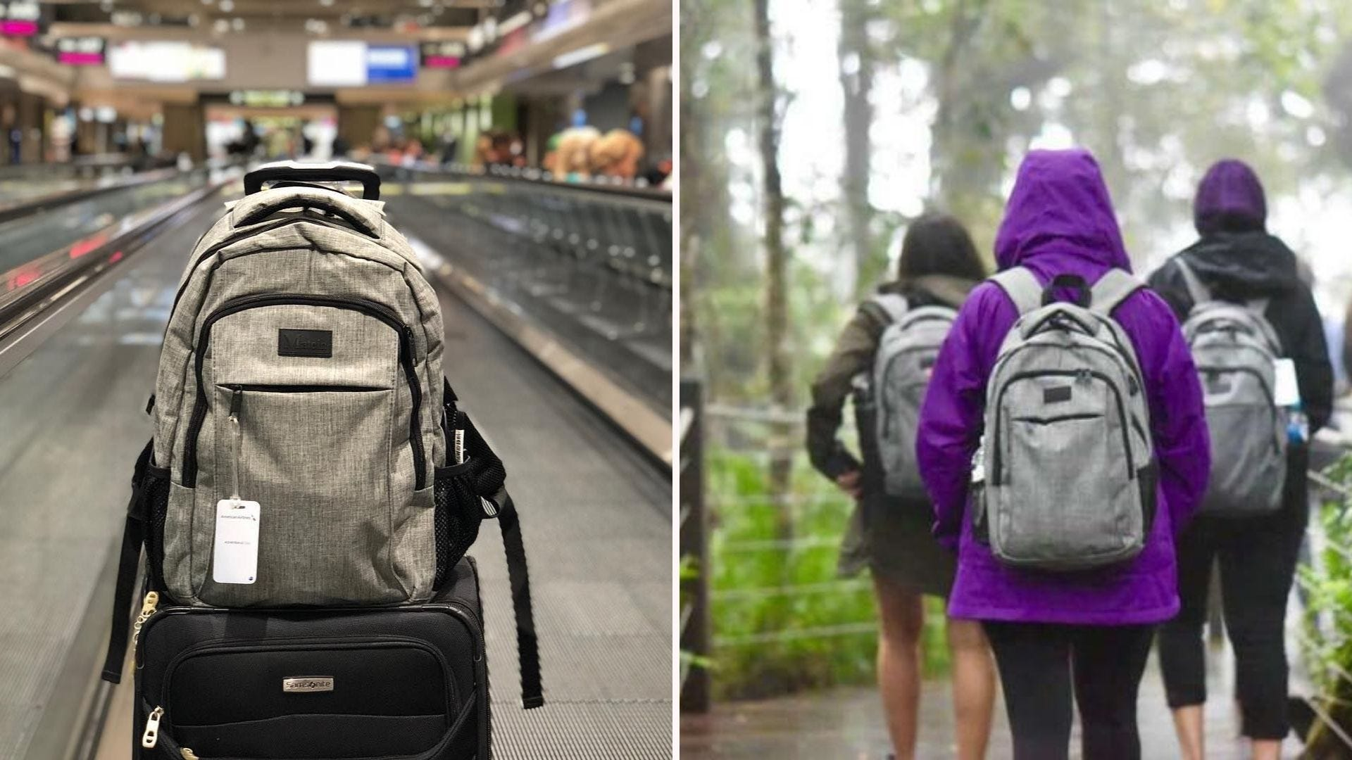 A taupe backpack on top of a suitcase; a woman in a purple hoodie carrying a gray backpack