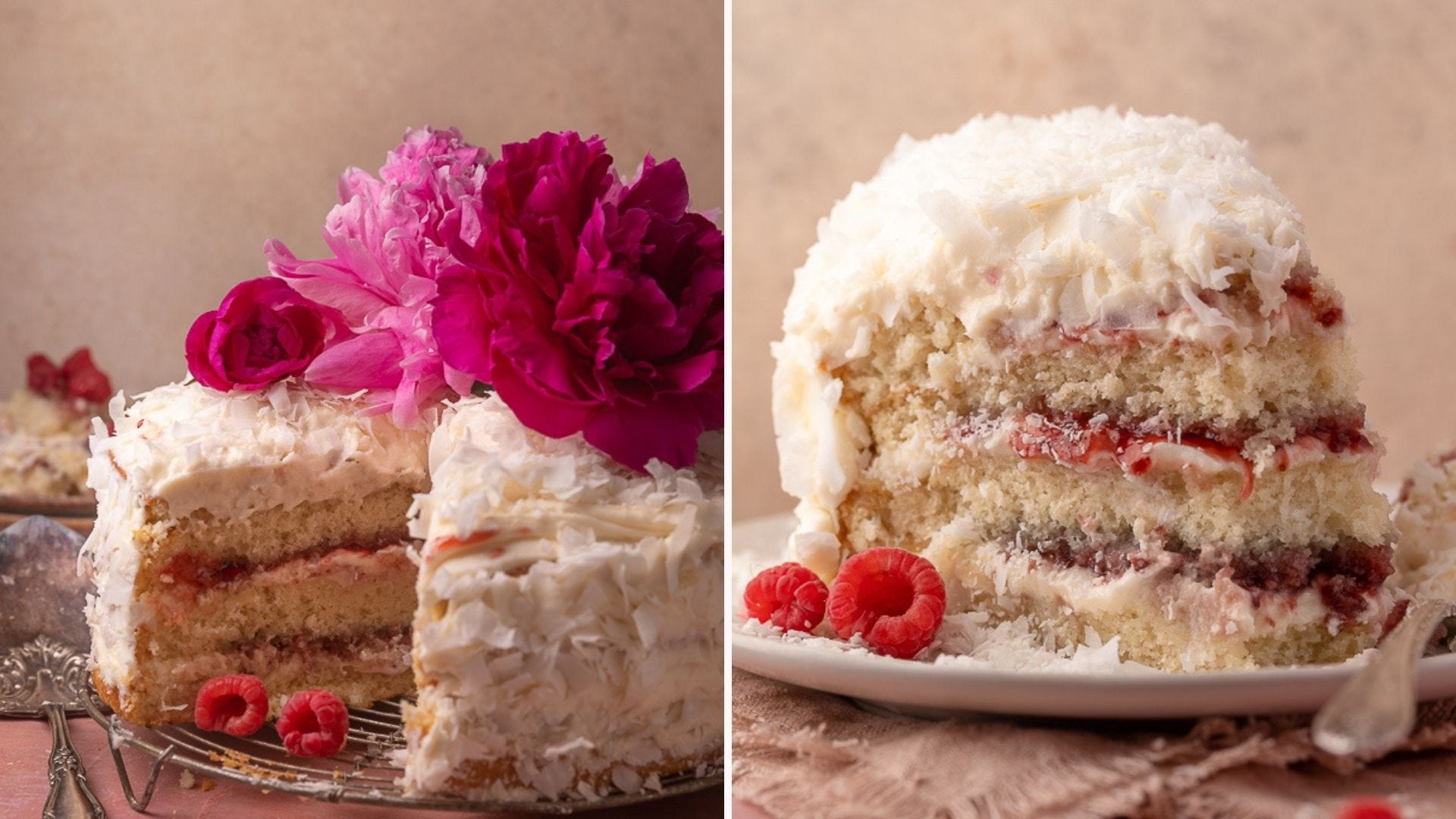 A raspberry coconut cake with a slice taken out; a closeup of that slice on a plate