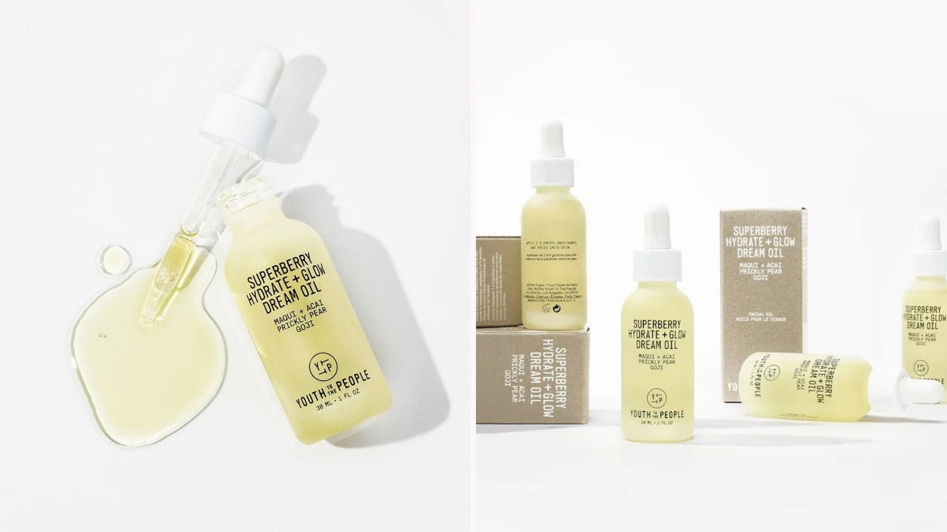 Bottles of pale yellow face oil next to their brown boxes