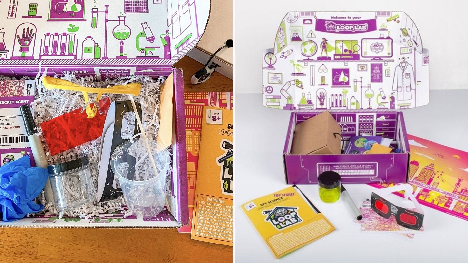 Two open purple boxes with various science supplies inside