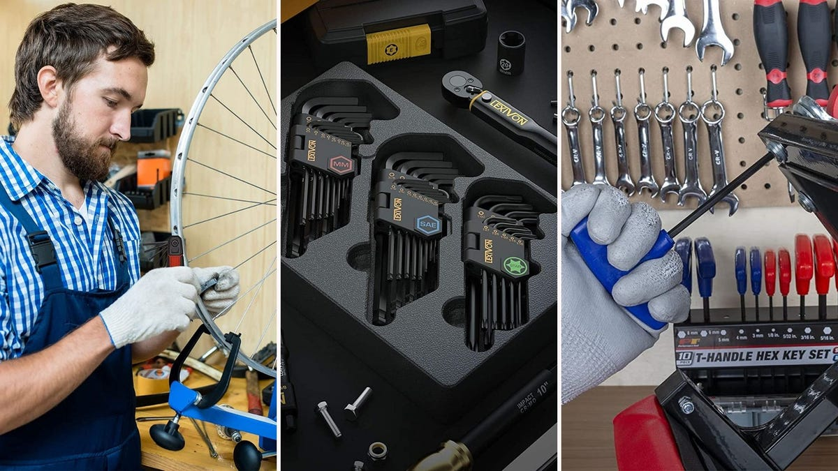 man using hex wrench on bike; three sets of hex wrenches resting on a table; person using hex wrench in a workshop