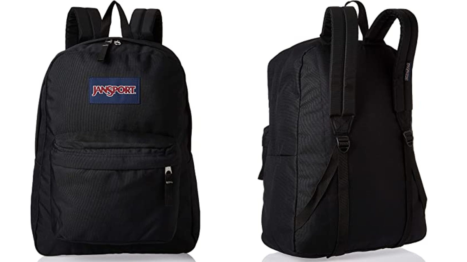 A front and back view of a black backpack.