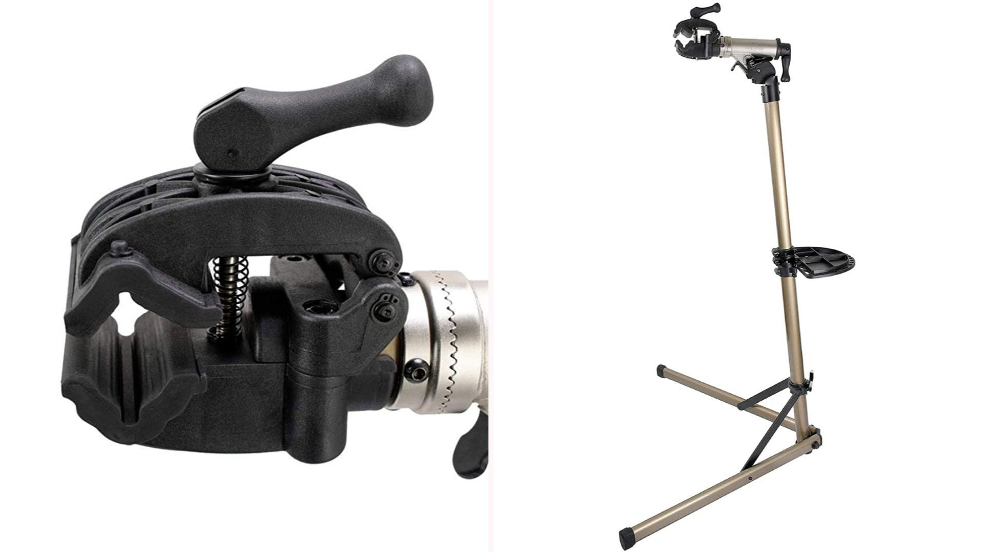 On the left, a black clamp. On the right, a full view of a gold bike stand.