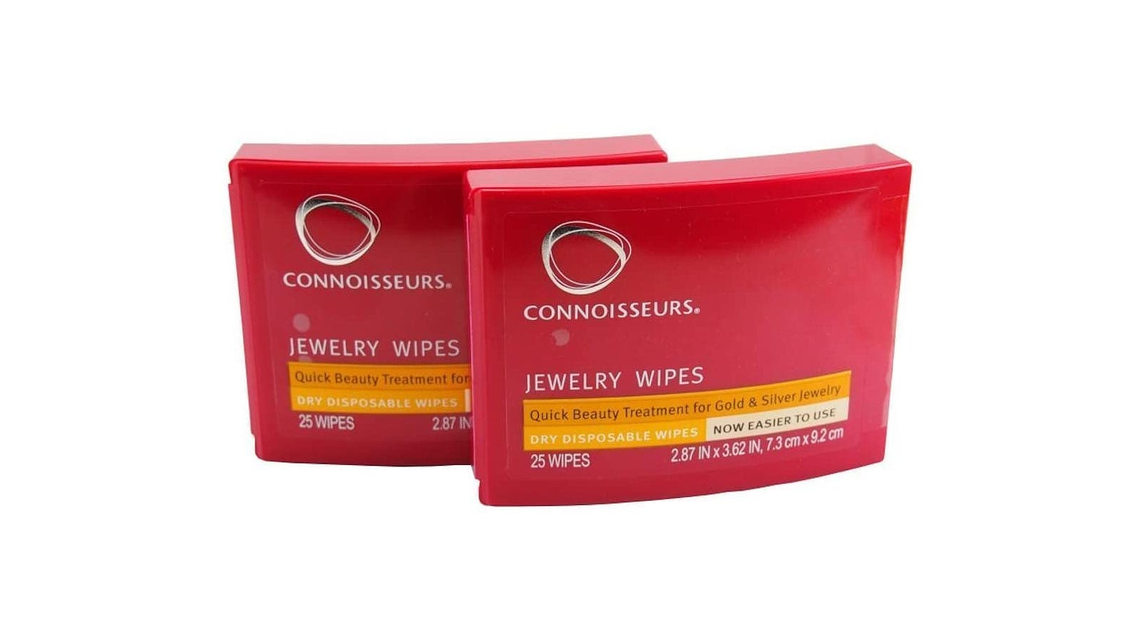 Two red packs of jewelry cleaning wipes.