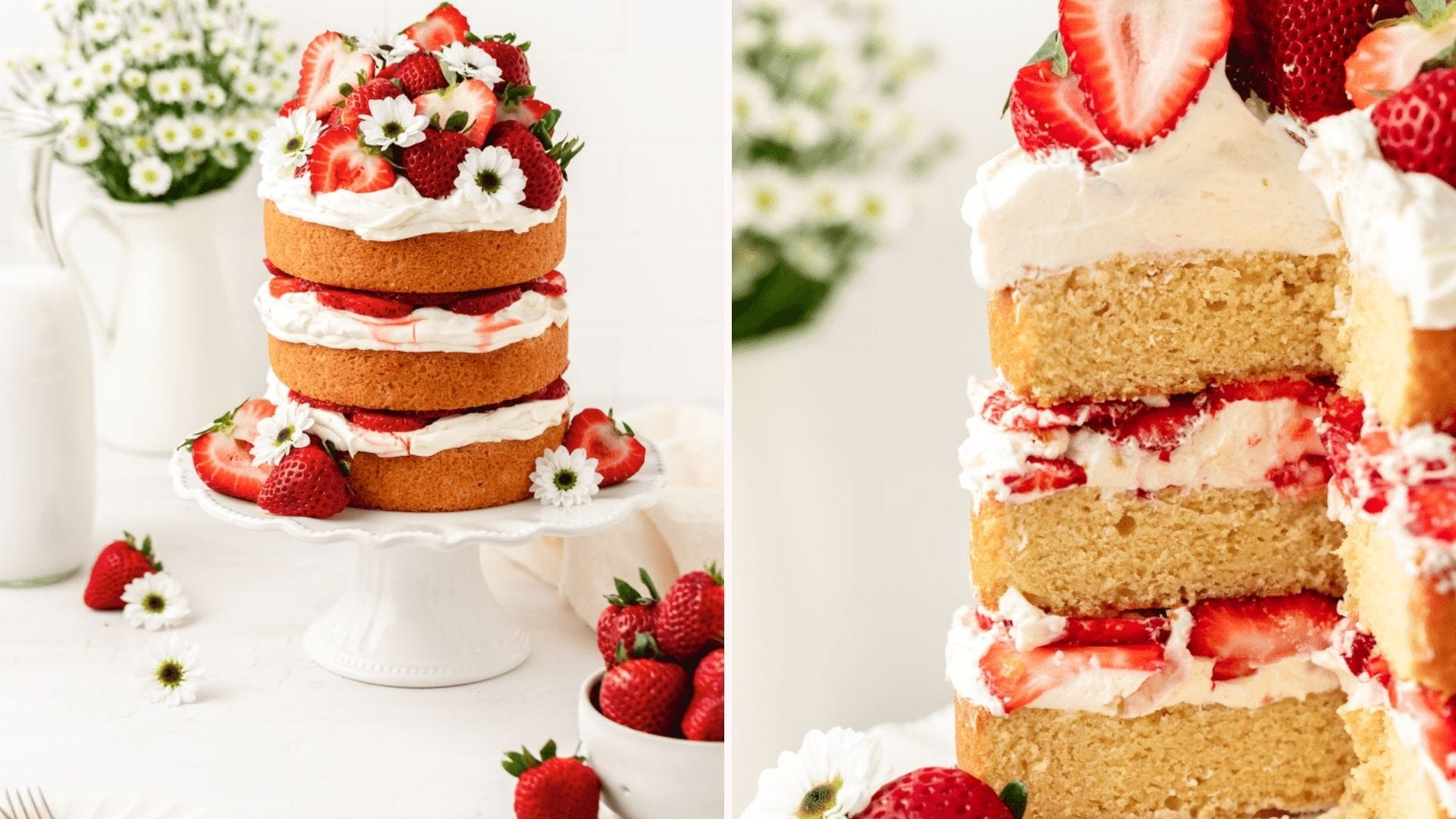 A strawberries and cream naked cake on a cake plate; closeup of the same cake with a slice cut out