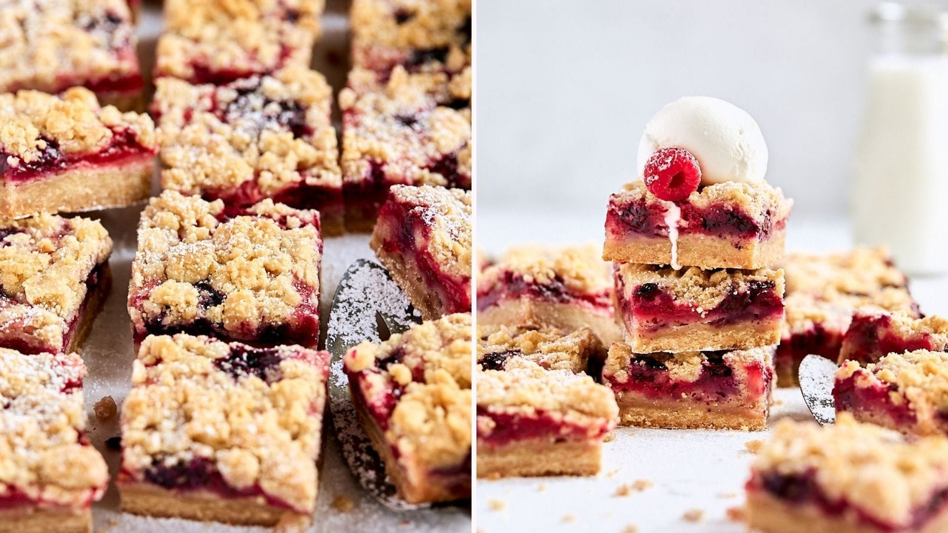 Overhead view of several berry crumb squares; a side view of a stack of the same bars