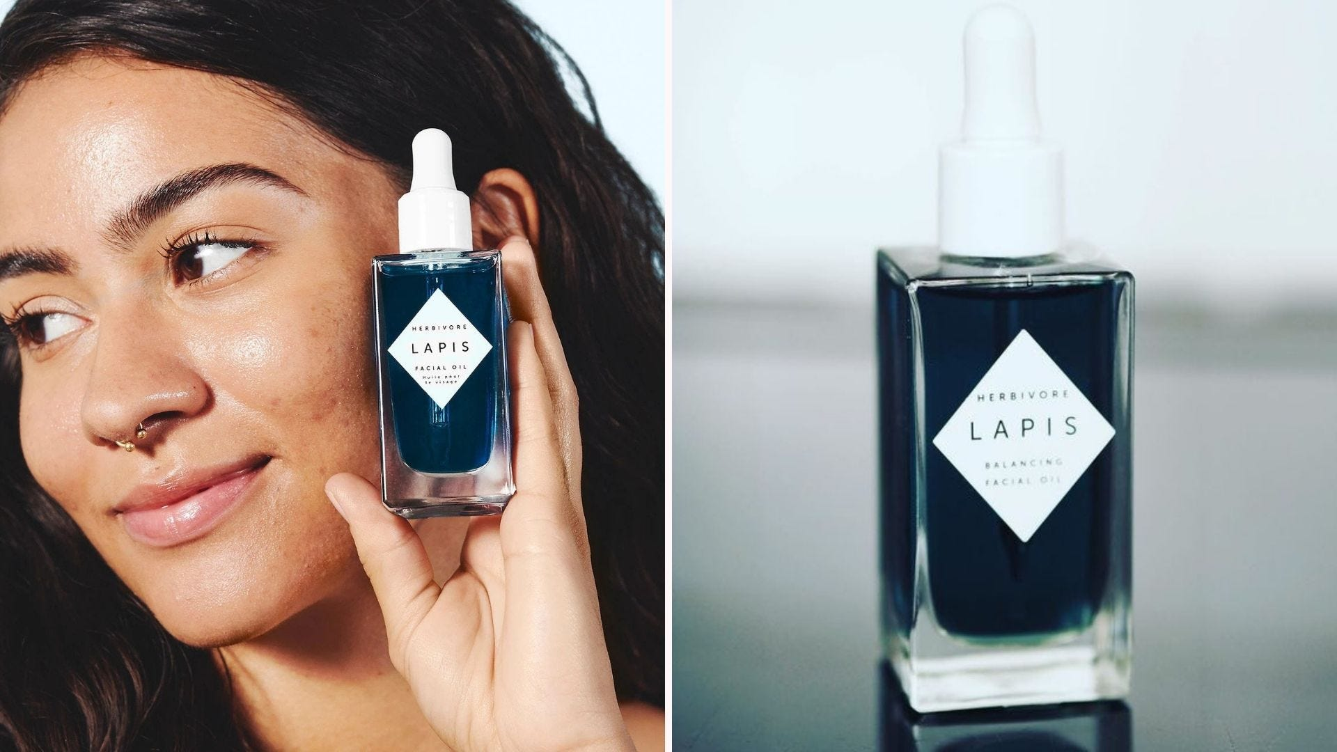 A woman holding up a clear bottle of blue facial oil; a bottle of the same oil