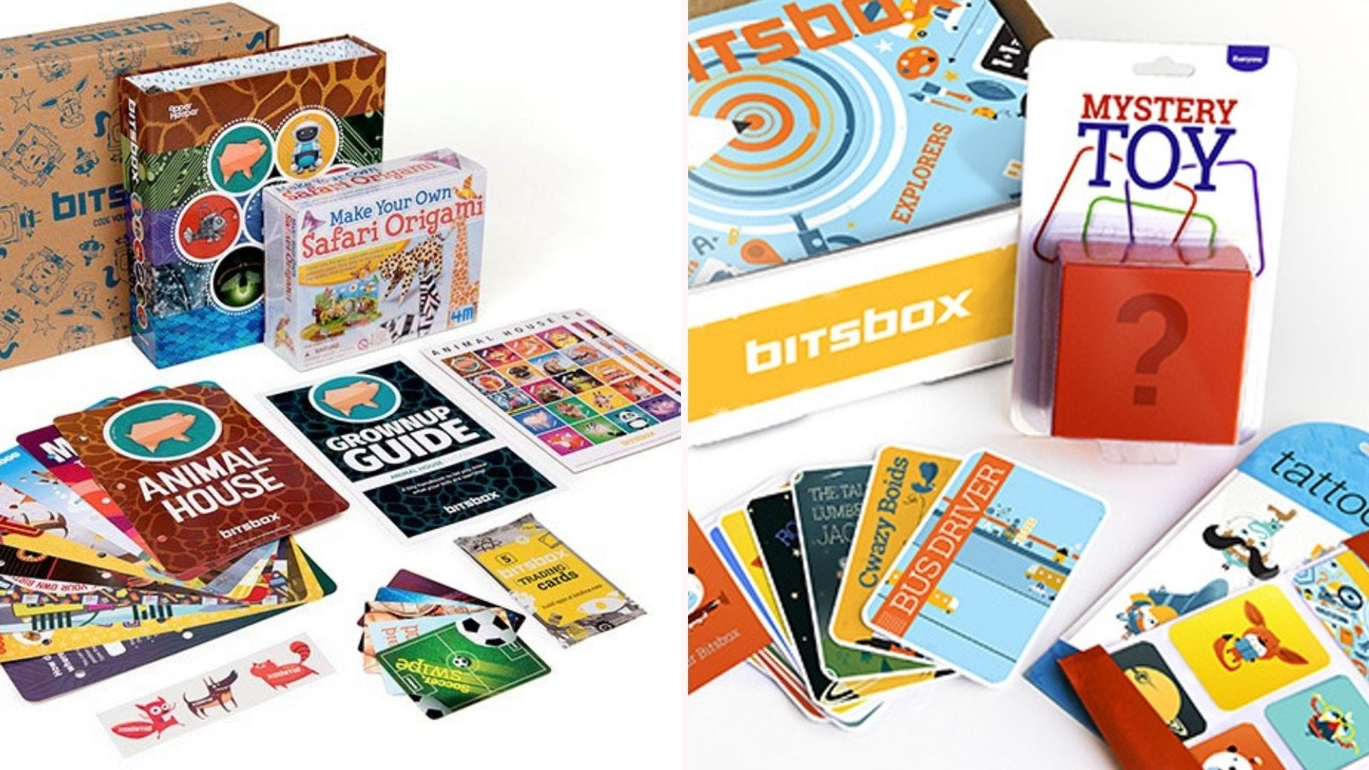 Two Bitsbox boxes with a variety of colorful coding cards spread out