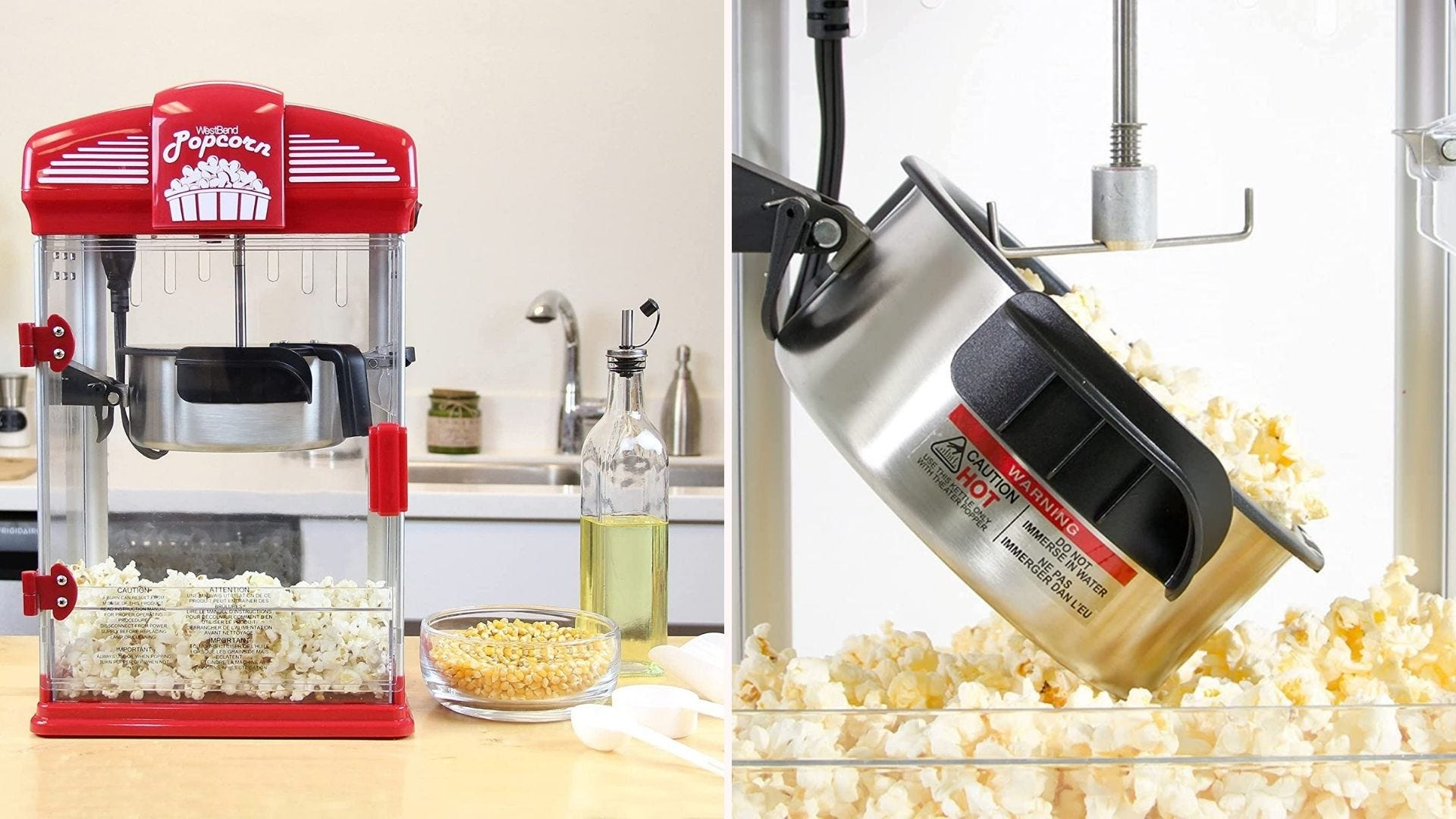 A red popcorn maker sitting on a counter; a close-up of popped popcorn coming out of the kettle