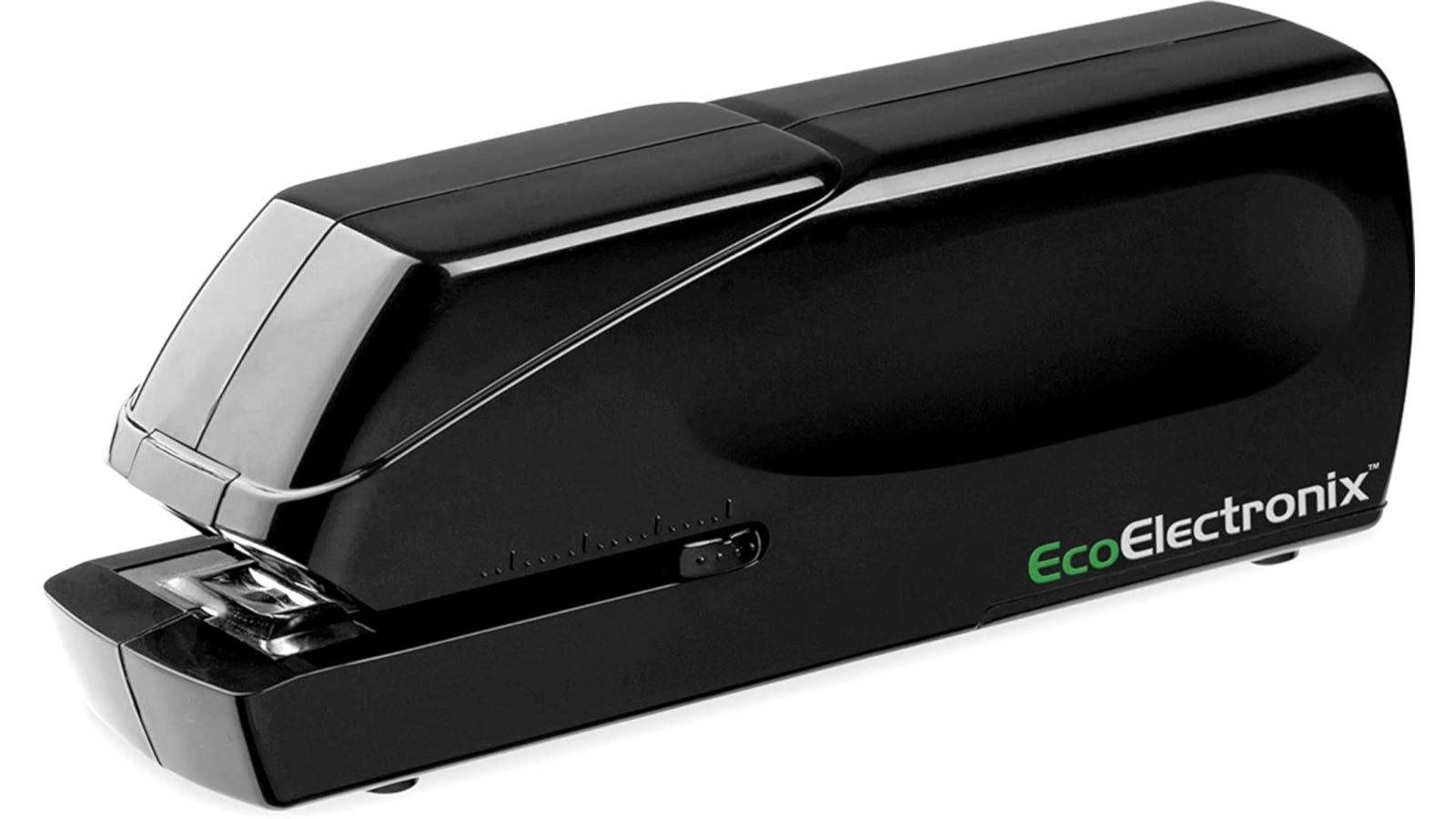A black electric stapler.