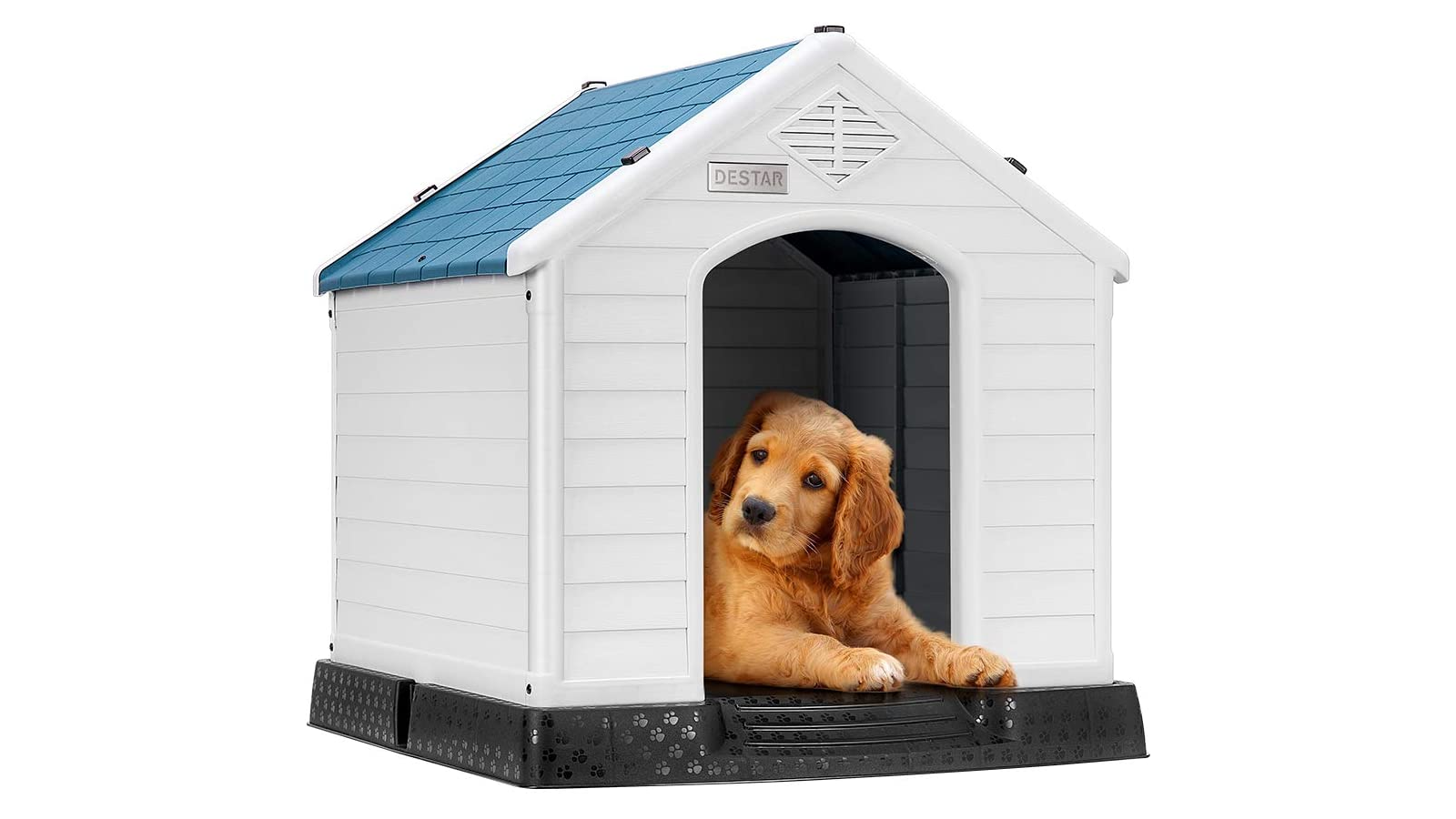 White plastic doghouse with blue roof and a puppy laying inside.