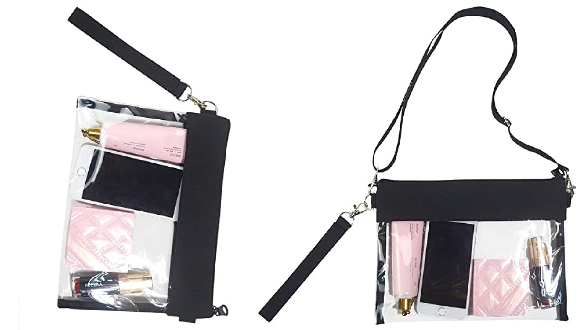 two views clear cross-body bag with clutch strap