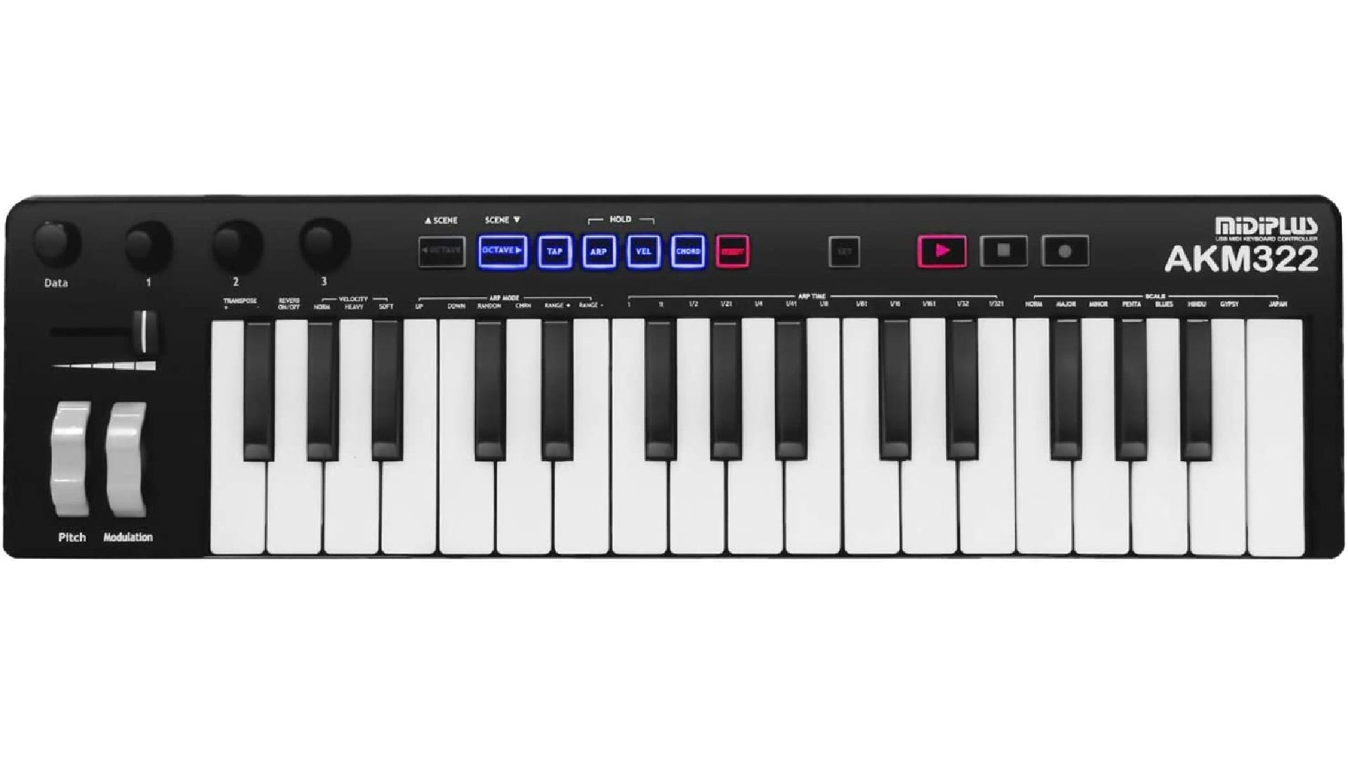 A MIDI keyboard with 32 piano keys, 11 buttons, three knobs, and pitch and modulation controls.