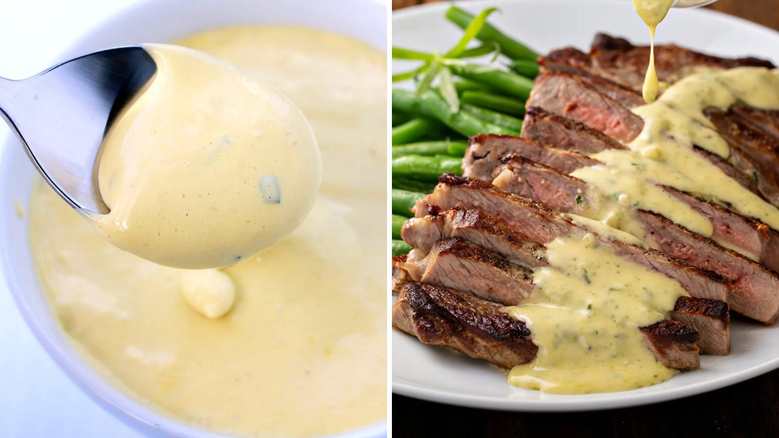 Two images of warm bearnaise sauce, one displaying the thickened sauce, and the other drizzling a generous amount over a hot steak cooked medium.