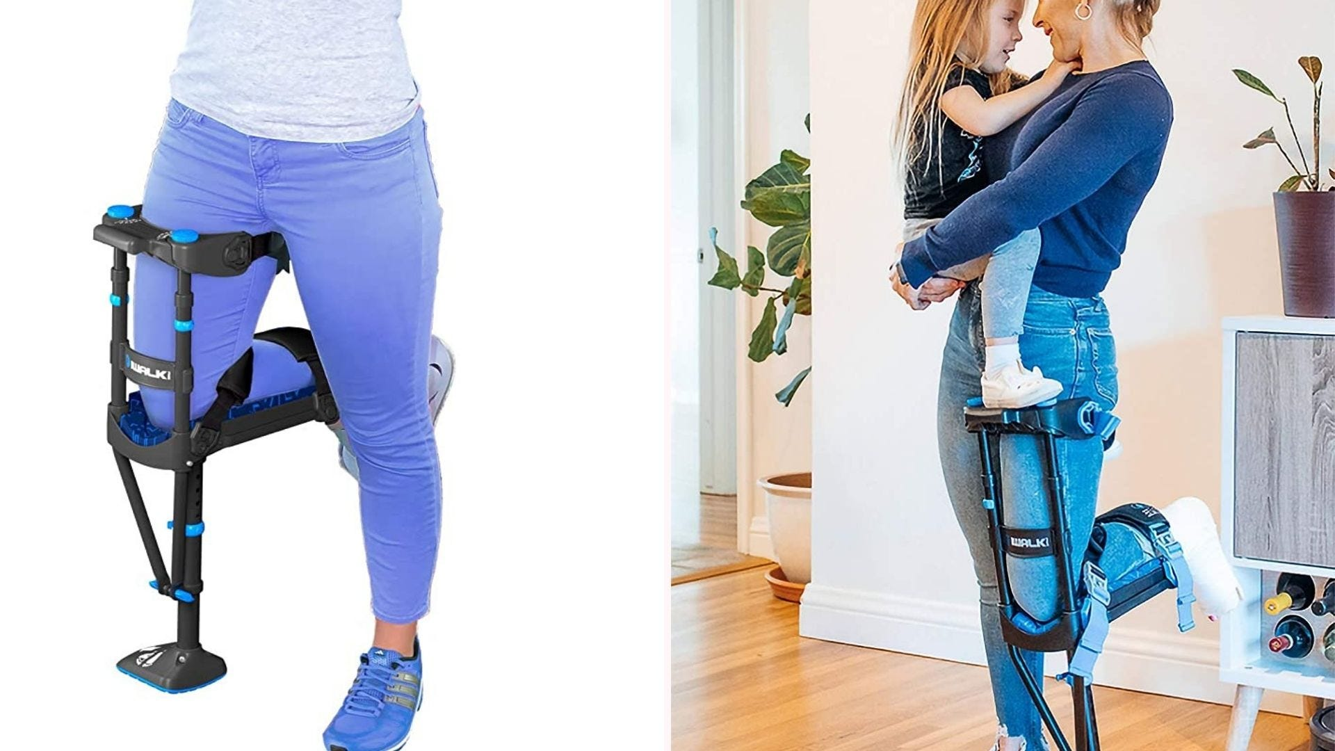 a woman wearing/kneeling on a hands-free crutch on one leg while she holds her child in her arms