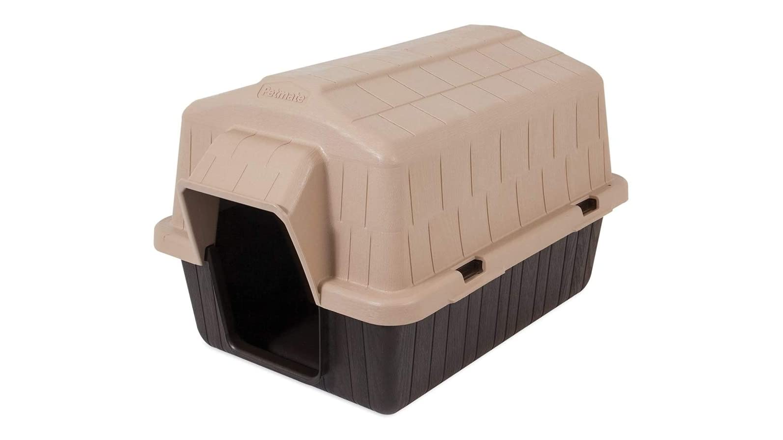 Brown and dark brown plastic doghouse.