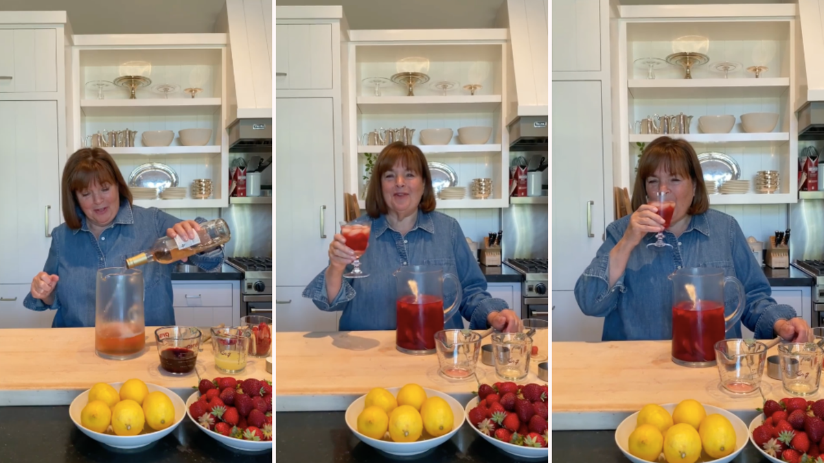 three photos see Ina Garten using rose to make a pitcher of sangria
