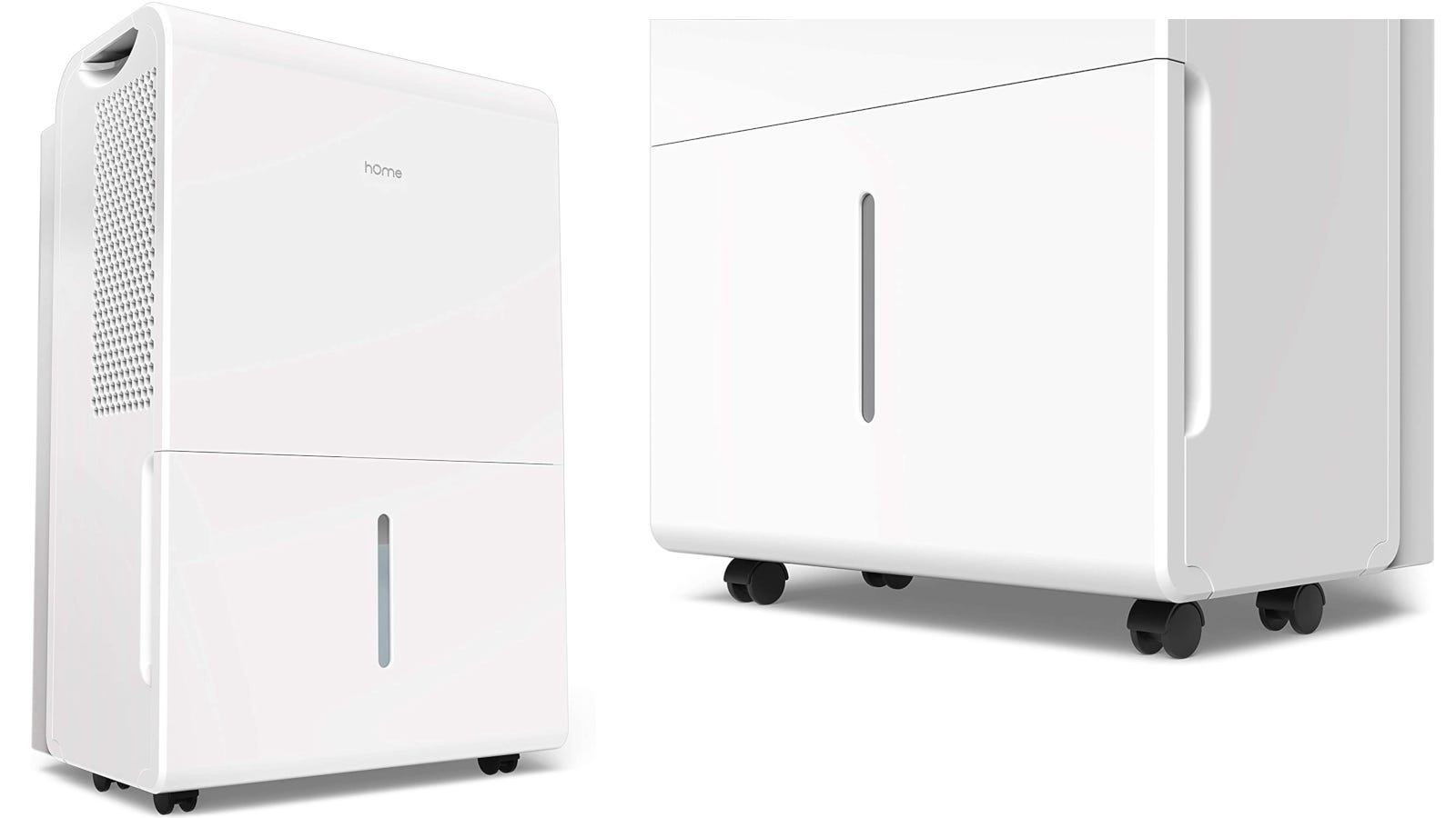 Two views of a white dehumidifier with wheels.