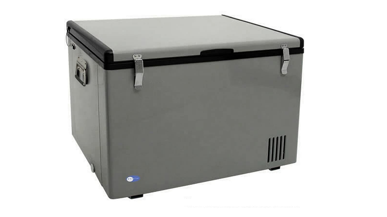 rectangular lighter gray chest freezer with black accents