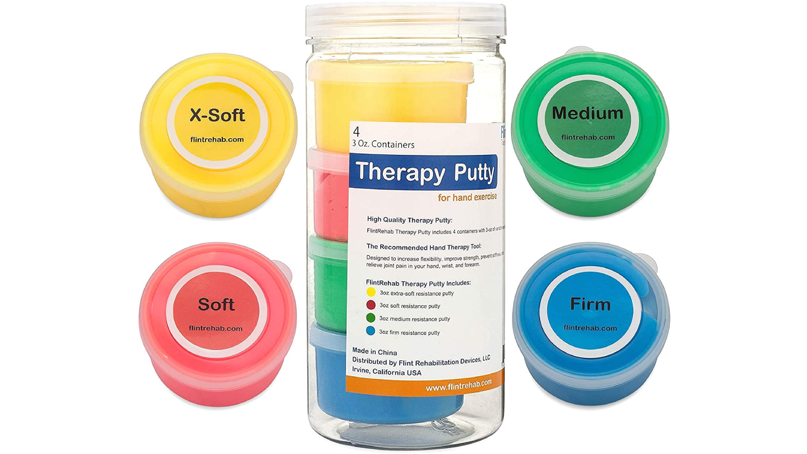 Four round containers, each with a different color putty surrounding a tall container.