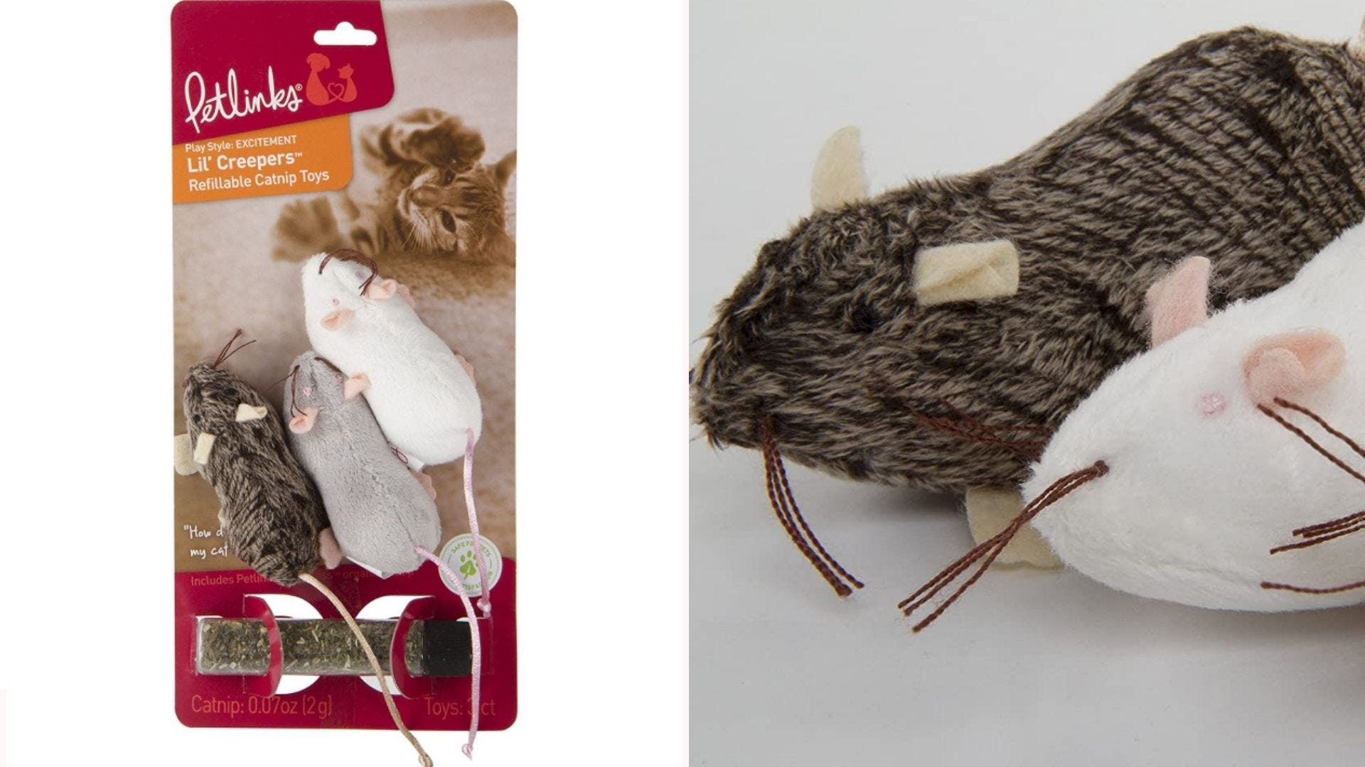 three toy mice (one white, one gray, one brown) for cats