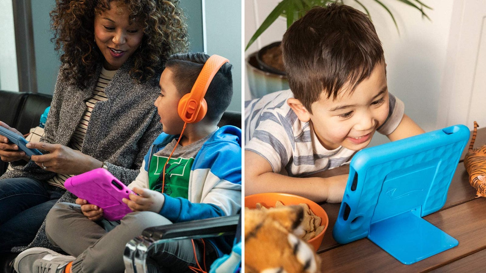 Two images: The left image features a mother and her son using their tablets while waiting to board a plane, and the right image features a young child excitingly playing with a Kids fire tablet.