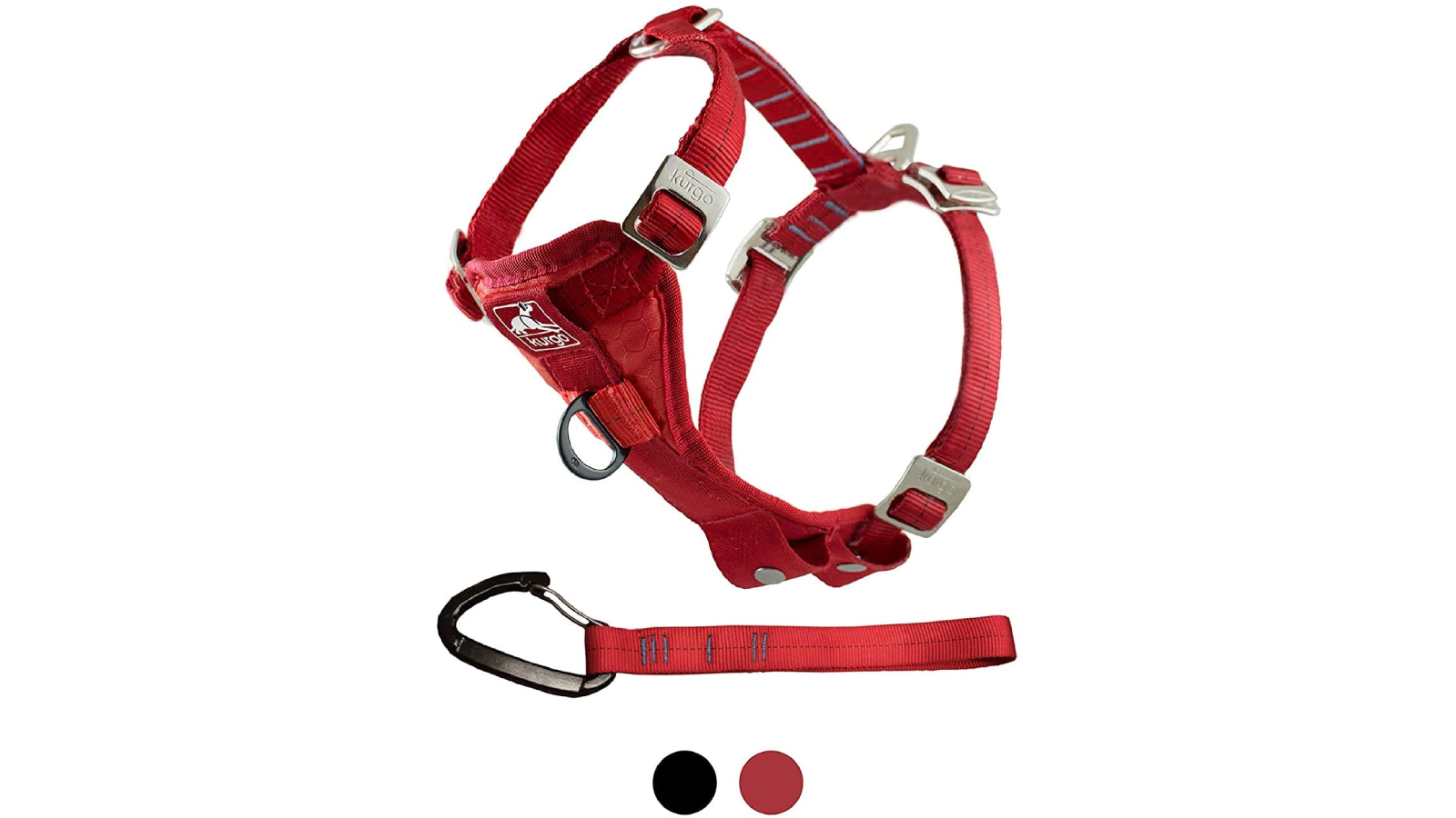 Red harness seatbelt with a tether.