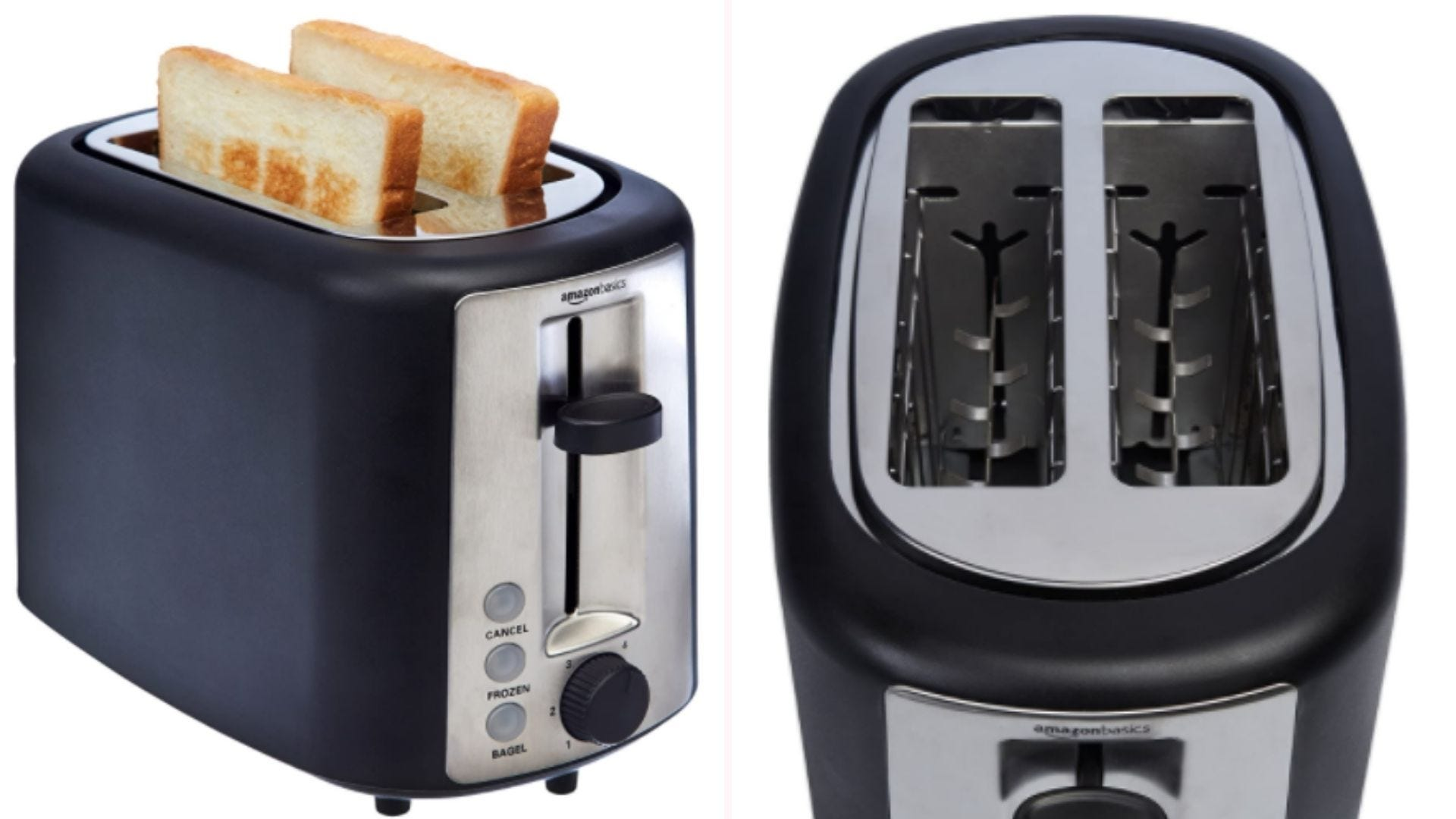 On the left, a toaster with black sides and a silver face ejects two lightly-browned pieces of bread. On the right, a close up view of the device's two extra-wide toasting slots that measure 5.25-by-1.25 inches long.