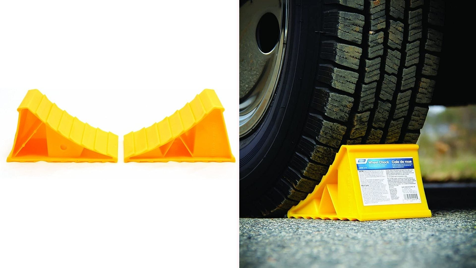 On the left, two bright yellow wheel chocks face each other. On the right, the wheel chock sits under the tire of a parked vehicle.