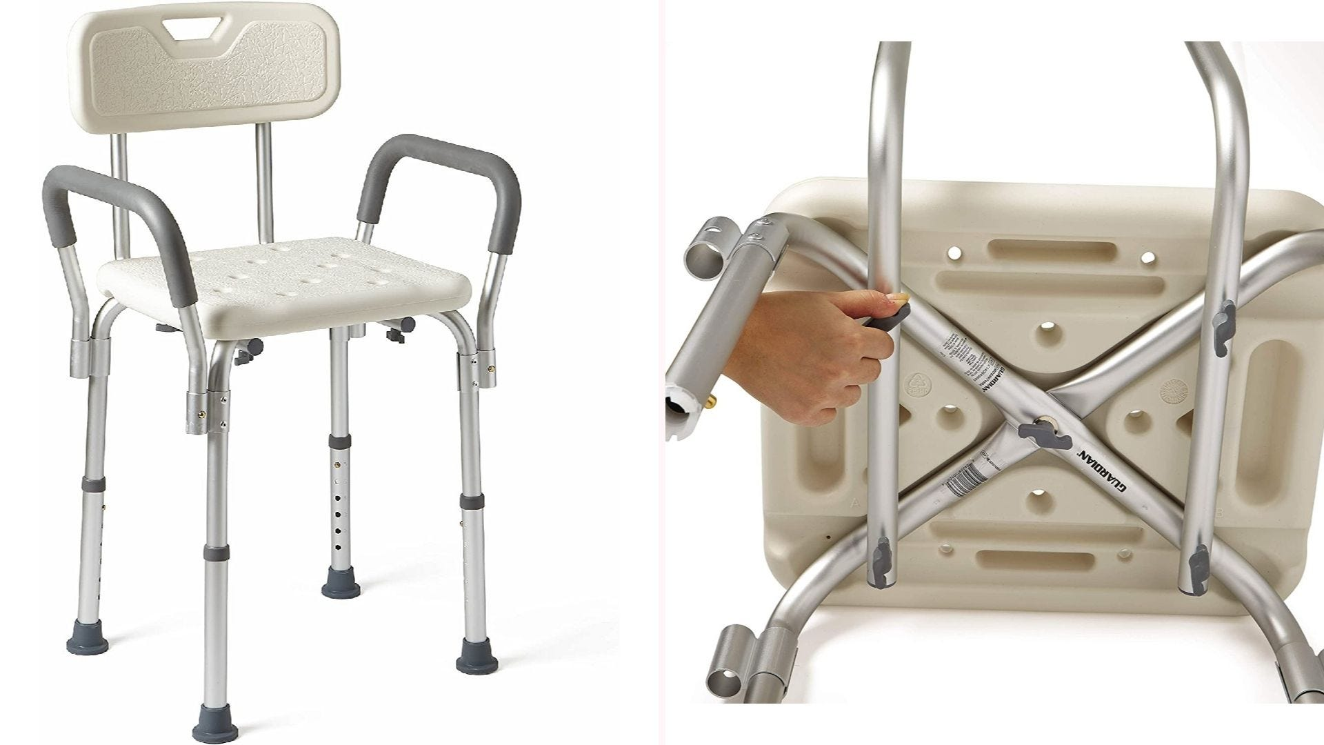 On the left, a white and gray 16.5-inch tall shower seat that features padded arms and a full back. On the right, a closeup view of the chair's underside reveals the legs' cross-cutting design.